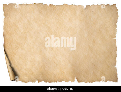 Old vintage paper or map sheet isolated on white - Stock Image