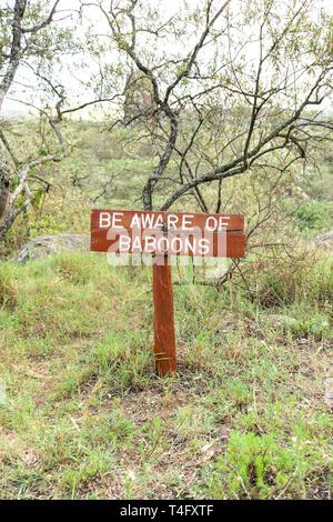 Be aware of baboons sign at Ol Njorowa gorge, Hells Gate National Park, Kenya - Stock Image