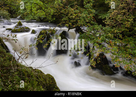 The dreamlike flow of the River Brathay above Colwith Force, Lake District, Cumbria, UK - Stock Image