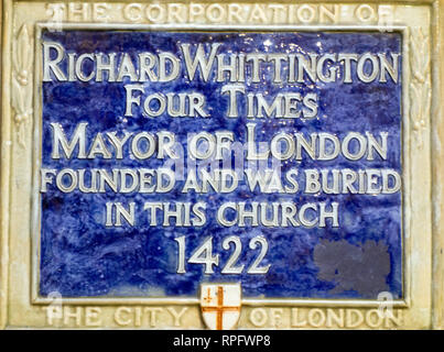 Plaque on St Michael Paternoster Royal church  to the four times  mayor London Richard Whittington commonly known as Dick Whittington - Stock Image