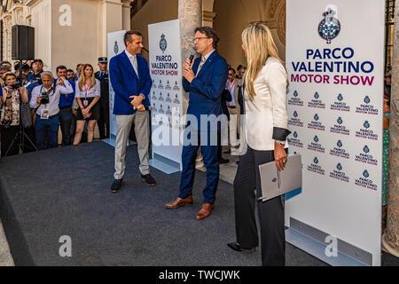 Piedmont Turin - Turin auto show 2019  - Valentino park - Valentino castle - Assessore Andrea Tronzano - Stock Image
