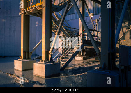 Exterior Metal Staircase At Industrial Quarry - Stock Image