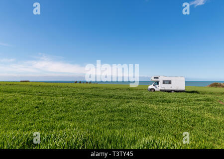 Motorhome on the road holiday in France - Stock Image