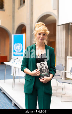 Stockholm, Sweden, September 14, 2018. Seminar about Agda Rössel (1910-2001) Sweden's and the world's first female UN ambassador. Presentation of the book 'Her Excellency Agda Rössel: from Lineman cottage to the UN Scraper 'by author Elin Jäderström. The author Elin Jäderström. The seminar is held at the Ministry of Foreign Affairs. Credit: Barbro Bergfeldt/Alamy Live News - Stock Image