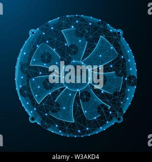 Fan low poly graphic model, polygonal electronic equipment, cooling system wire frame vector illustration on dark blue background - Stock Image