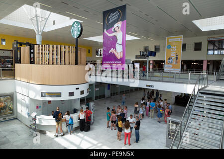 Air passengers in the main terminal, Bordeaux Merignac airport, Bordeaux, France Europe - Stock Image