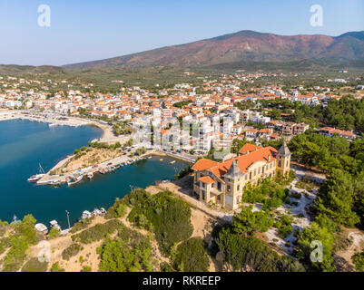 Limenaria Castle and Limenaria Town, the second most important city in Thasos Island, Greece - Stock Image