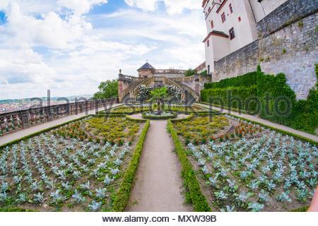 Garden of Festung Marienberg, Würzburg, Bavaria, Germany - Stock Image