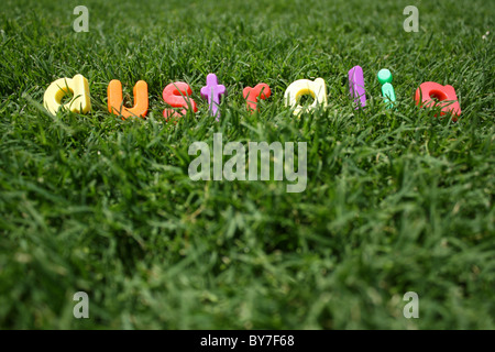 The word 'australia' spelled out in colourful plastic letters, on green grass, taken from a low angle - Stock Image