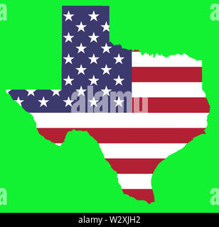 texas state usa country flag illustration green background - Stock Image