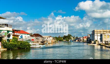 Haulover Creek in Belize City - Stock Image