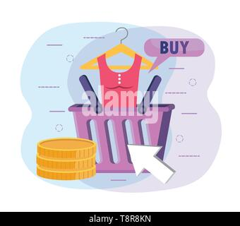 shopping basket with blouse and digital coins vector illustration - Stock Image