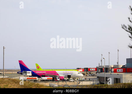 Wizzair airliner on the apron at Glafcos Clerides international airport, Larnaca,Cyprus October 2018 - Stock Image