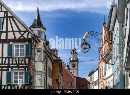 Altstadt von  of Ravensburg, Marktstrasse, historische Gebauede,  Baden-Wuertemberg, Germany - Stock Image