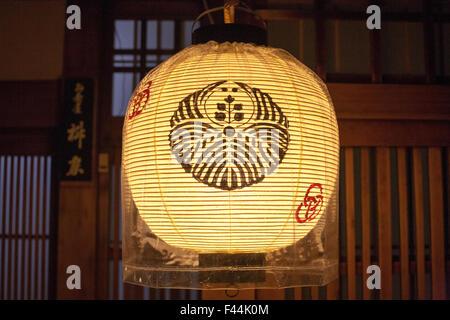 Kyoto lit lantern pattern straight on - Stock Image