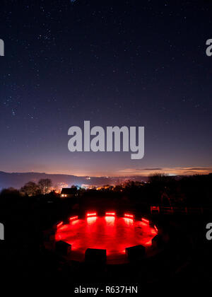 Wirksworth, UK. 03rd Dec, 2018. UK Weather: clear cold starry night at the star disc above Wirksworth in the Derbyshire Dales, Peak District National Park Credit: Doug Blane/Alamy Live News - Stock Image