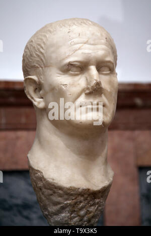 Bust of emperor Vespasian (9-79 AD). Marble. From Ecija, Andalusia, Spain. Archaeological Museum of Seville. Andalusia. Spain. - Stock Image