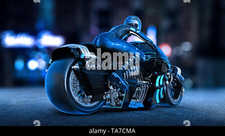 Biker girl with helmet riding a sci-fi bike, woman on black futuristic motorcycle in night city street, rear view, 3D rendering - Stock Image