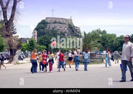 Spianada and Old Fortress Kerkyra Corfu - Stock Image