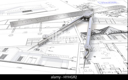 Architectural blueprints, drawings and sketches. Ruler and Divider of metal. 3D render. - Stock Image