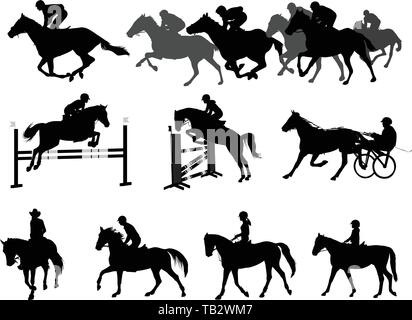 riding horses silhouettes set. equestrian sport and recreation - vector - Stock Image