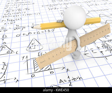 Dude 3D character carrying large wooden Ruler and yellow Pencil. Walking on gridpaper with Math symbols.  3d Render. - Stock Image