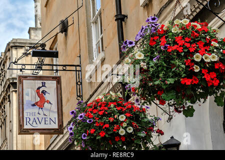 UK Somerset Bath The Raven Public House Sign - Stock Image