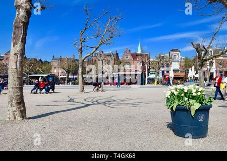 Amsterdam, Netherlands - April 2019; Museumplein on a bright spring day. - Stock Image
