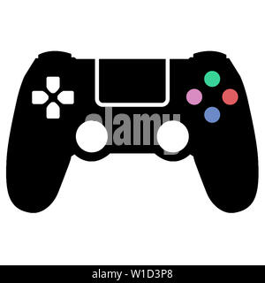controller joystick game play accessory gamer illustration button entertainment black - Stock Image