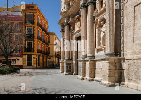 Baroque exterior of Carmen Church and Convent, Plaza del Carmen, Barrio Del Carmen, Valencia, Spain - Stock Image