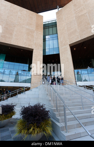 The exterior and entrance of the Mint Museum of Art Craft and design in downtown Charlotte, South Carolina USA - Stock Image