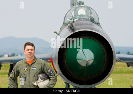 Croatian Air Force MiG-21 BISD fighter pilot posing beside his aircraft - Stock Image