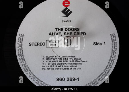 The Doors vinyl record & label - Alive, She Cried  album (released 1983) - Stock Image
