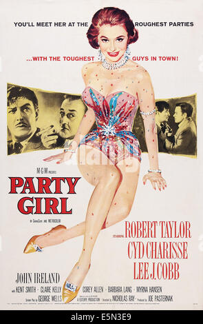 PARTY GIRL, US poster art, from left: Robert Taylor, Lee J. Cobb, Cyd Charisse, 1958 - Stock Image