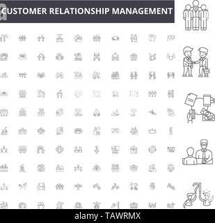 Customer relationship management line icons, signs, vector set, outline illustration concept  - Stock Image