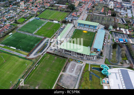 JANUARY 5, 2019, Bruges, Belgium: Jan Breydel Stadium aerial view is home for Club Brugge and Cercle Brugge soccer clubs ft. flying urban neighborhood - Stock Image