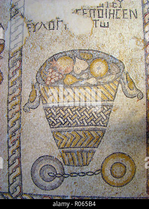 6346. Sepphoris synagogue mosaic depicting a fruit basket and cymbals. - Stock Image