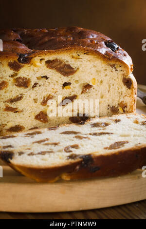 Barmbrack or bairin breac a traditional Irish fruit loaf made with sultanas or raisins often eaten buttered for afternoon tea and traditionally served - Stock Image