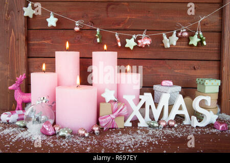 Candles And Decorations For Christmas - Stock Image