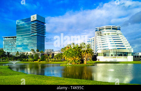 Crown Casino with Crown Metropol hotel on the right and Crown Towers hotel on the left. Burswood, Perth, WA - Stock Image