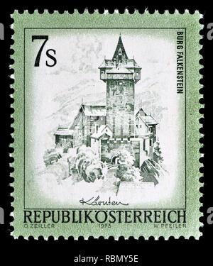 Austrian definitive postage stamp (1973) : Burg Falkenstein / castle - Stock Image