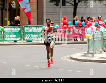 El Amin Chenttouf (MAR), and Michael Roeger (AUS), competing in the World Para 2019 London Marathon. El Amin won the race in a time of 02:21:23. Michael came second in 02:22:51. They both came first in their respective categories. - Stock Image