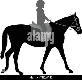 child riding horse silhouette - vector - Stock Image