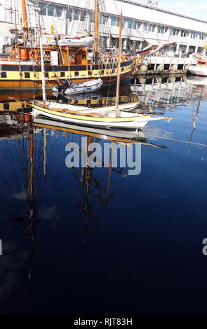 Hobart, Tasmania, Australia, 8 Feb 2019. Many historical vessels including tall ships are currently moored at Elizabeth St Pier and available for inspection and sailing tours. The 2019 Australian Wooden Boat Festival celebrates historical and current shipbuilding and is one of the world's most anticipated maritime events. Credit: Suzanne Long/Alamy Live News - Stock Image