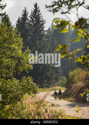 Two men riding racing bicycle on cycling tour in Black Forest, Baden-Württemberg, Germany - Stock Image
