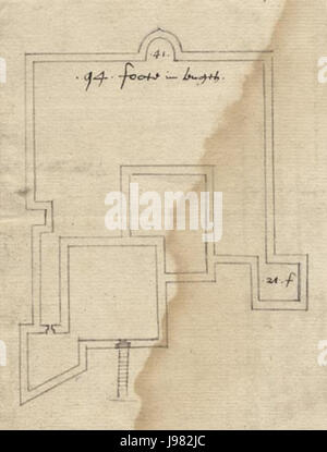 Sandown castle plan 1559 - Stock Image