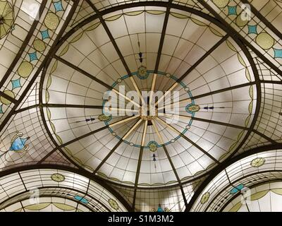 Art Deco stained glass ceiling dome in Cathedral Arcade in Melbourne Australia - Stock Image