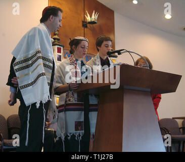 Jewish teens and their parents at a Bar Mitzvah in Bowie, Md - Stock Image