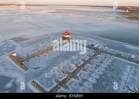 Aerial View Frozen Choptank River and Lighthouse Cambridge Maryland - Stock Image