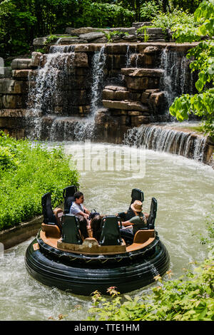 White Water Canyon is a river rapids ride in the Cedar Fair parks of Canada's Wonderland, Kings Dominion, and Kings Island. It features six seat raft- - Stock Image